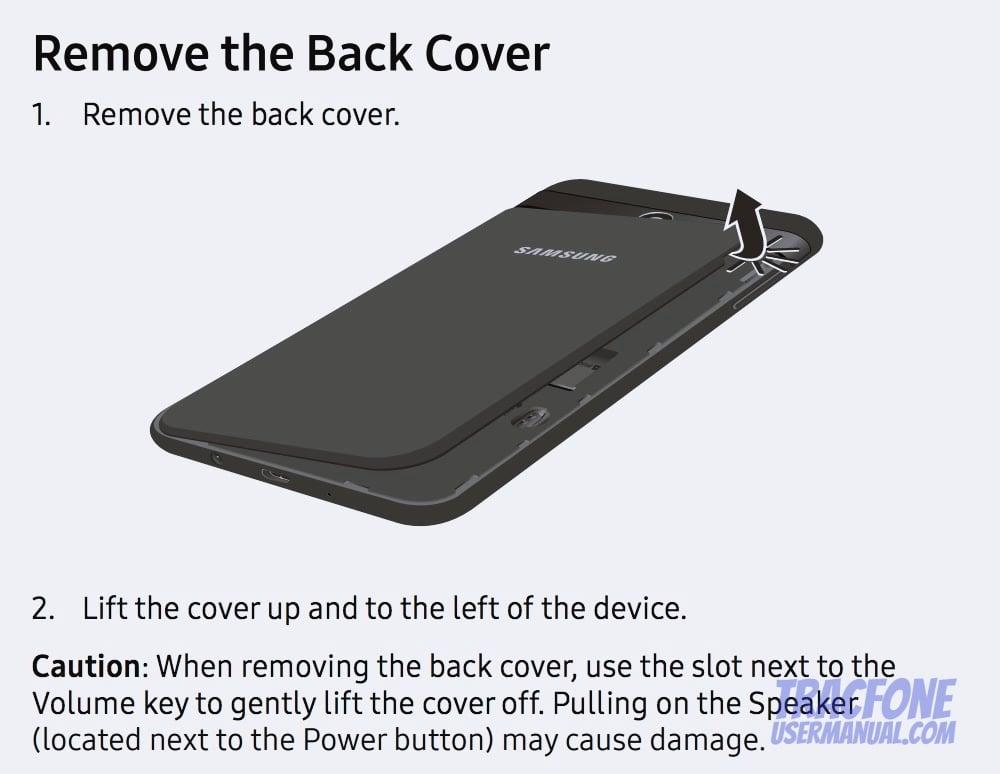 Galaxy J7 Remove Back Cover