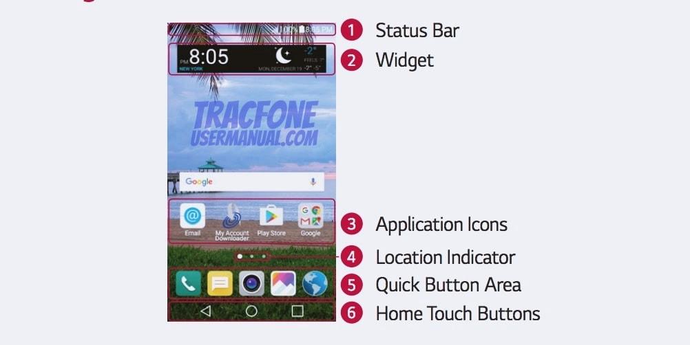 TracFone LG Rebel 2 Homescreen