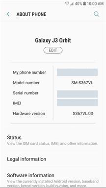 Samsung Galaxy J3 Orbit About Phone